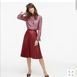 JCrew Tall Pleated midi skirt in faux red leather